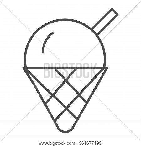 Ice Cream Thin Line Icon. Cute Ice Cream Cone Dessert Illustration Isolated On White. Ice-cream Logo