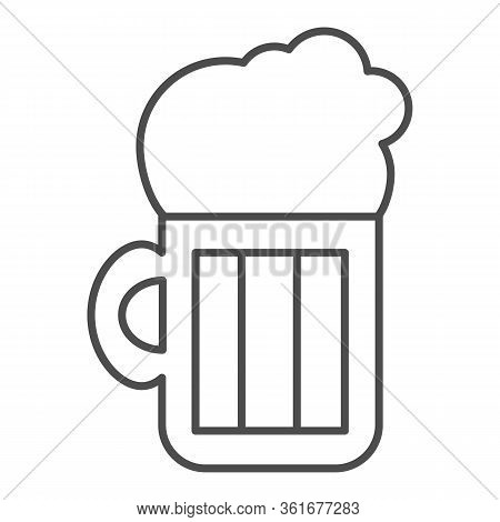 Beer Thin Line Icon. Beer Mug Illustration Isolated On White. Alcohol Pint Glass With Froth Outline