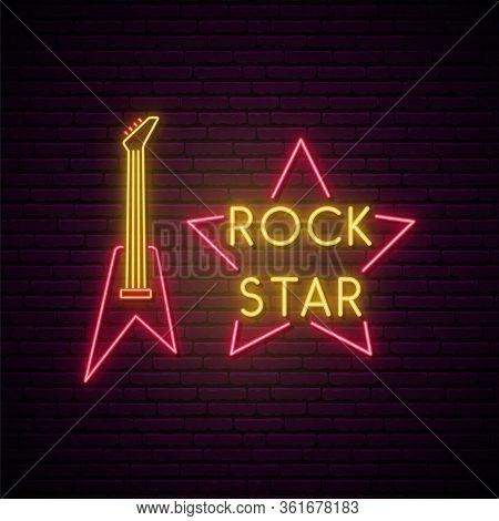 Rock Music Neon Sign. Bright Light Guitare And Star Emblem For Rock Pub, Cafe, Karaoke.vector Neon S