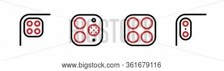 Set Of Four, Two Cameras And Scanner, Four, Dual Phone Multi-cameras Icons. Editable Line Vector.