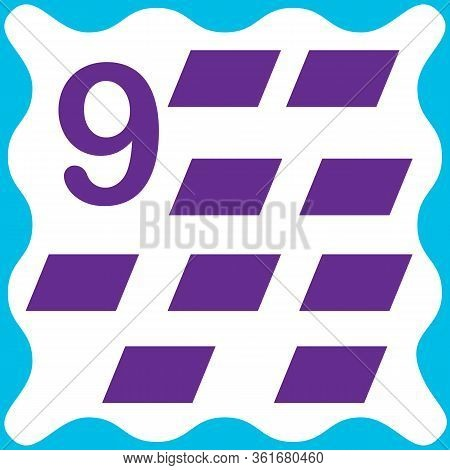 Card Number 9 (nine) And Parallelogram. Learning Numbers And Geometric Shapes, Mathematics. Game For
