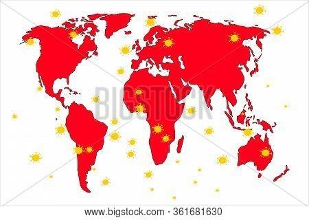 The Coronavirus Has Spread All Over The Planet. Vector Illustration.