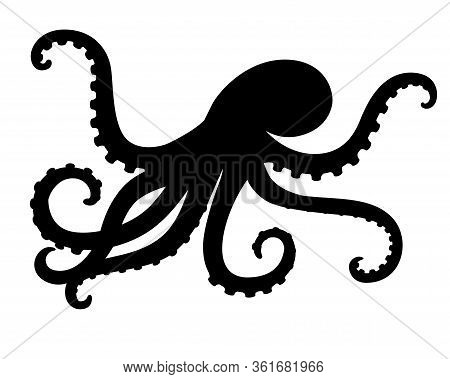 Octopus - Sea Animal Vector Silhouette For Icon Or Sign On A Sea Or Ocean Theme. Black Silhouette Of