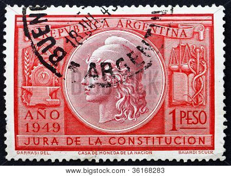 Postage stamp Argentina 1949 Allegory of Liberty