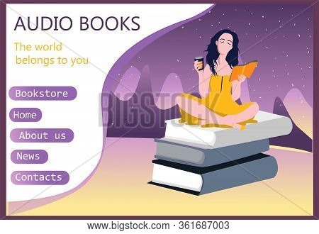 Modern Interface For E-books. Audio Books. User Interface, Ux And Gui Screens. Template For The Site