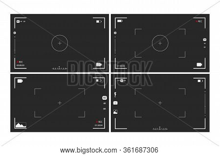 Camera Viewfinder Rec Set Collection On Transparent Black Background. Record Video Snapshot Photogra