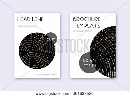 Trendy Cover Design Template Set. Gold Abstract Lines On Black Background. Flawless Cover Design. Em
