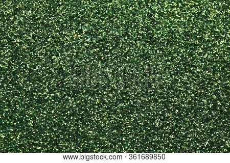 Bright Green Glittery Background With Many Glitter