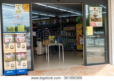Torrevieja, Valenciana, Spain - Apr 17 2020 : Hand Sanitise On Entry To Shop During Covid-19 Pandemi