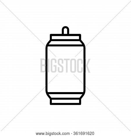 Vector Aluminum Can Outine Icon. Soda Or Beer Metal Can.