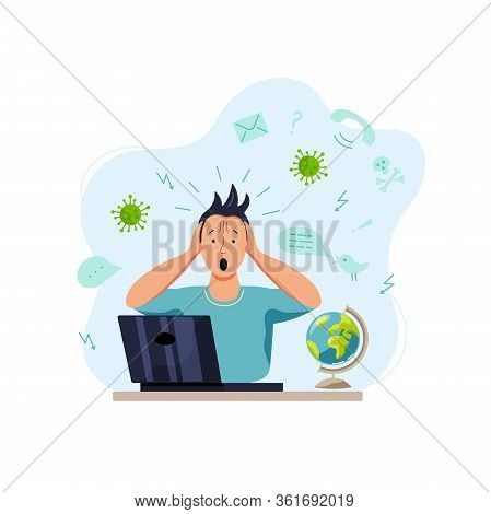 Person Gets Too Much Information. Flat Cartoon Style Design. Vector Illustration.