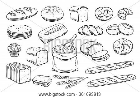 Bread Outline Icons. Drawing Rye, Whole Grain And Wheat Bread, Pretzel, Muffin, Pita , Ciabatta, Cro
