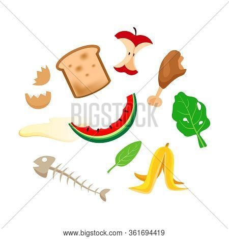 Organic Foods Waste Isolated On White Background, Organic Waste Vegetables And Fruits Garbage, Organ