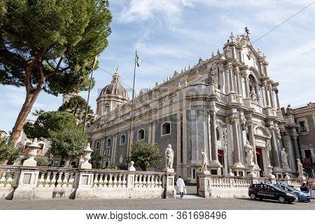 Catania, Sicily - February 12, 2020: Piazza Del Duomo With Saint Agatha Cathedral In Catania, Sicily