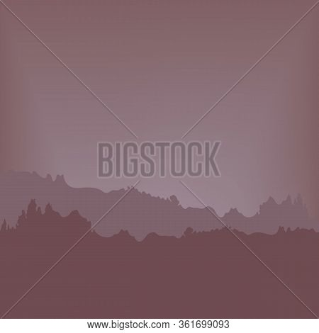 Sunset Over The Forest. The Purple Light Of The Sky. Vector Illustration Twilight.