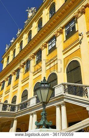 Vienna, Austria - September 2018: Fragmental View On  Schonbrunn Palace