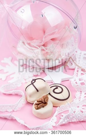 Christmass New Year Decorations. Greeting Card. White Chocolate Candy, Christmass Ball With Pointe S