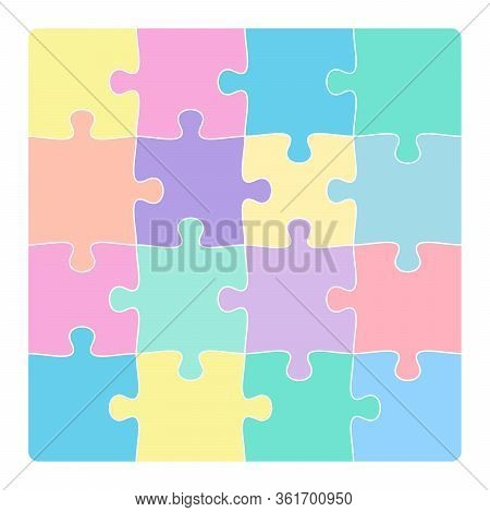 Colorful 4x4 Jigsaw Puzzle Template Isolated On White Vector Illustration