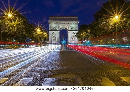 Paris, France - September 15, 2018: Arc De Triomphe Triumphal Arch In Champs Elysees At Night, Paris