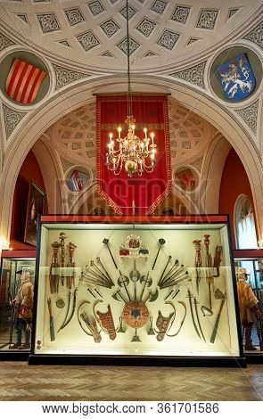 Vienna, Austria - September 2018: Exposition Fragment In The Arsenal Military Museum