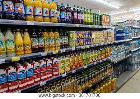 Torrevieja, Valenciana, Spain - Apr 17 2020 : Food For Sale In Empty Shop Due To Covid-19 Virus And