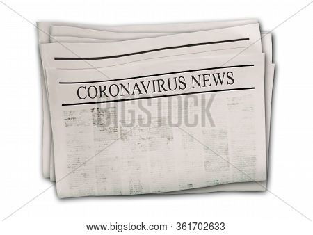 Coronavirus Covid-19 News. Newspapers With Headlines On Horizontal Surface. Newspaper Background. Ag