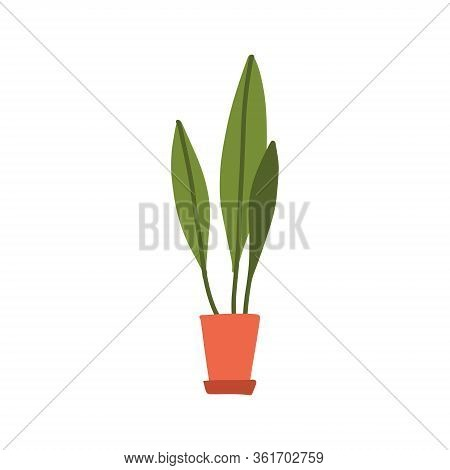 Flat Doodle Home Green Long Abstarct Plant In Brown Pot. Cartoon Colors, Single Stock Vector Illustr