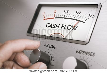 Man Turning Income Knob To Increase Cash Flow Amount. Concept Of Good Management Of Liquidities In A