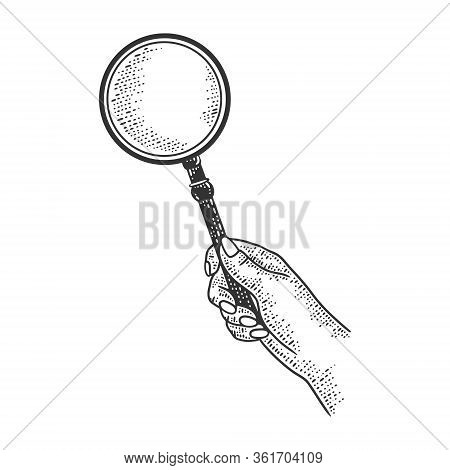 Magnifying Glass In Hand Sketch Engraving Vector Illustration. T-shirt Apparel Print Design. Scratch