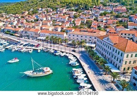 Korcula. Town Of Vela Luka On Korcula Island Waterfront Aerial View, Archipelago Of Southern Dalmati