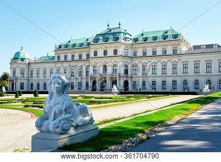 Vienna, Austria - September 2018: View In The Park Of Belvedere Palace