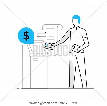 Woman Withdraws Money From An Atm. Family, Relationships, Convenience, Work, Home. Infographics, Lin