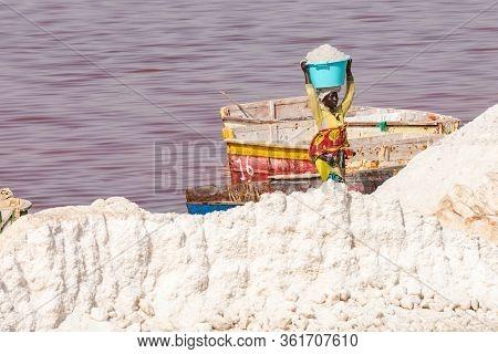 Lac Rose, Senegal - November 13, 2019: Boats At Lac Rose Or Retba Lake. Dakar. Senegal. West Africa.