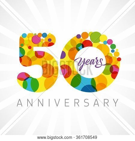 50 Th Anniversary Numbers. 50 Years Old Multicolored Congrats. Cute Congratulation Concept. Isolated