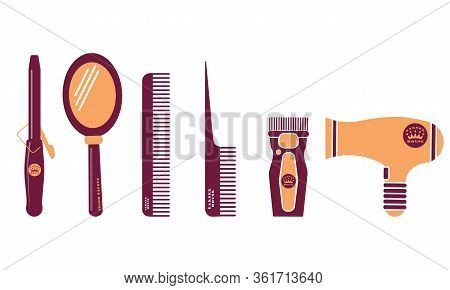 Hairdresser And Barber Shop Flat Icon Set. Beauty Salon. Comb, Mirror, Scissors, Curling Iron, Clipp