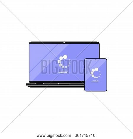 Laptop And Tablet Update Icon. Laptop Software Update. Downloading Data Concept Simple Design On Iso