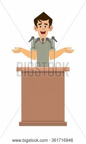 Casual Man Cartoon Character Speaker Stands Behind The Podium And Speaks