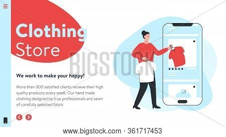 Vector Image Of An Online Store Website Interface With Concept Illustration Of A Woman Taking Clothe