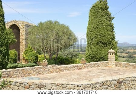 Viewpoint  To The Countryside From  The Medieval Village Of Pals, Located In The Middle Of The Empor