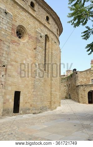 Stone Buildings At Street Of The Medieval Village Of Pals, Located In The Middle Of The Emporda Regi