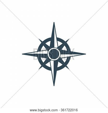 Blue Compass Rose. Europe Protection. Cartography Symbol. Nautical Geography. Stock Vector Illustrat