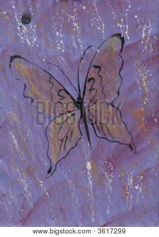 Art Gold Butterfly On Blue