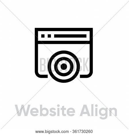 Website Align Target Business Icon. Editable Line Vector.