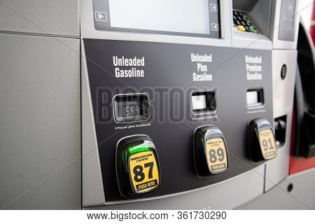 Helena, Montana - April 10, 2020: Gas Pump With Low Unleaded Gas Prices During Coronavirus Covid-19