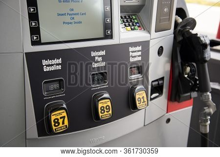 Helena, Montana - April 10, 2020: Gas Pump With Cheap Low Gas Prices During Coronavirus Covid-19 Pan