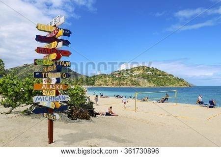 Tortola, British Virgin Islands - Februery 1, 2018: View Of Beautiful Beach, A Popular Tourist Desti