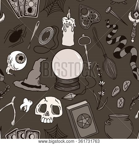 Vector Sepia Pattern With Magic And Occult Drawn Symbols