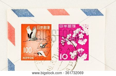 Seattle Washington - April 16, 2020: Close Up Of 1961 And 1963 Issued Japanese Stamps, On Air Mail