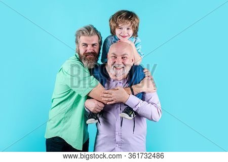 Happy Man Family Concept Laugh And Have Fun Together. Three Generations Ages: Grandfather Father And