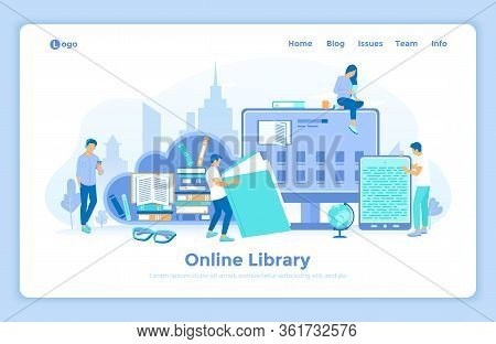 Online Library Reading E-learning Shop. People With Electronic Open Book, Archive, Ebook List On The